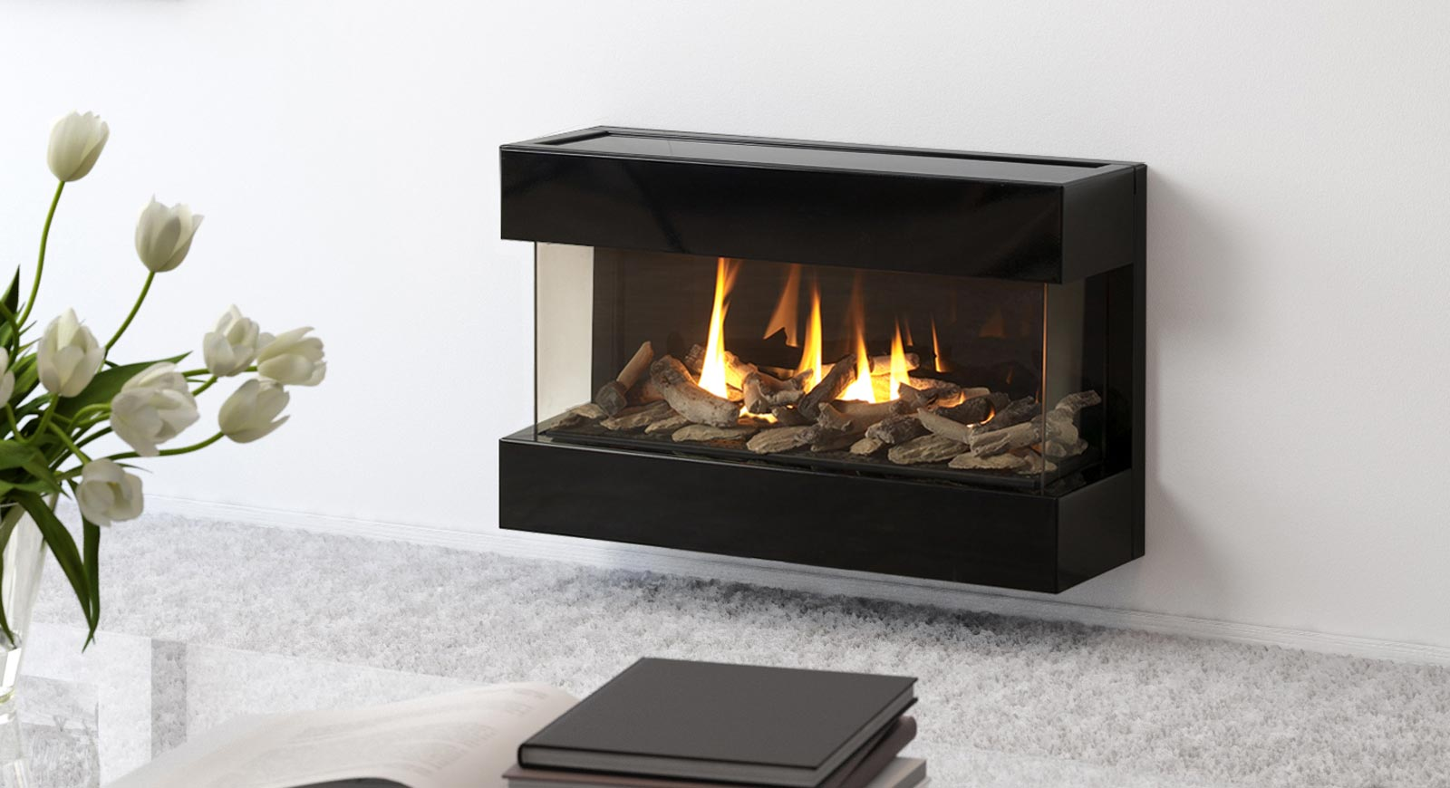 wall-mounted contemporary fireplace